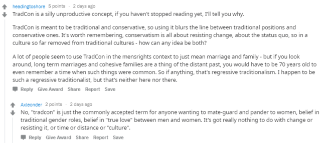 denying there is such a thing as trad cons